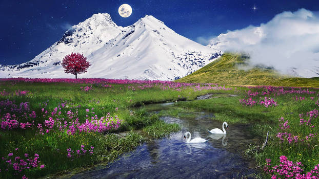 Photomontage Serenity bellow the snowy peaks