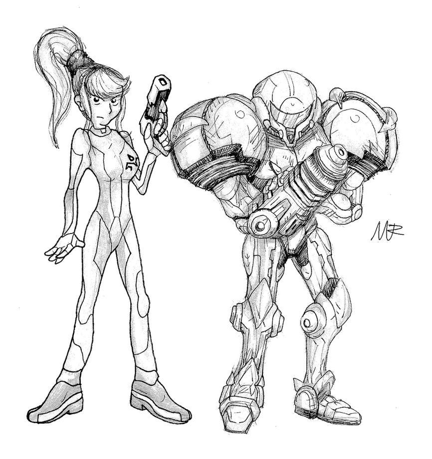 how to draw zero suit samus