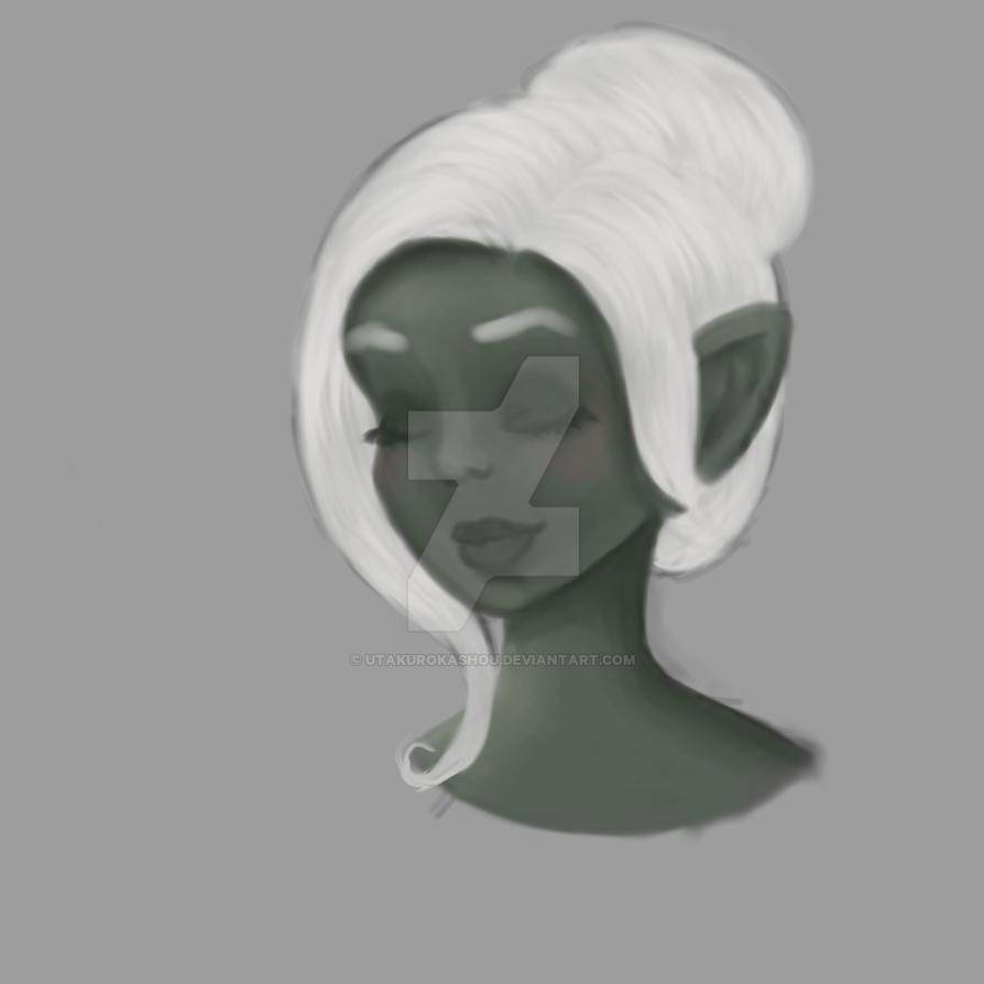 Blushing Dark Elf by indigocrowgirl