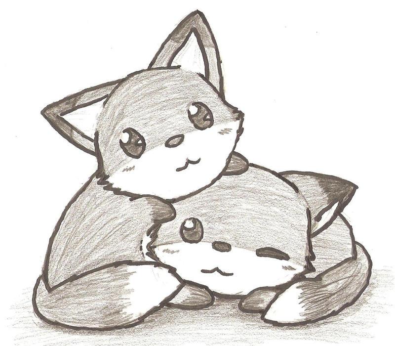 Simple Cute Fox Drawing