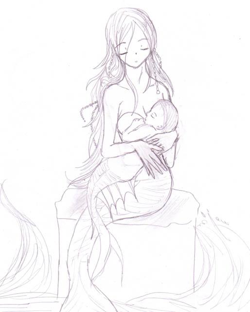 Mermaid and merbaby for Megan by DriRose