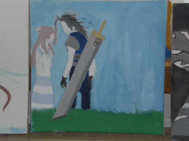 Aerith and Zack Painting by DriRose