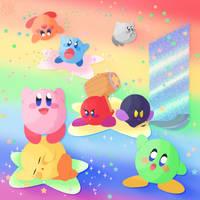 Rainbow Kirbys by wearthesun