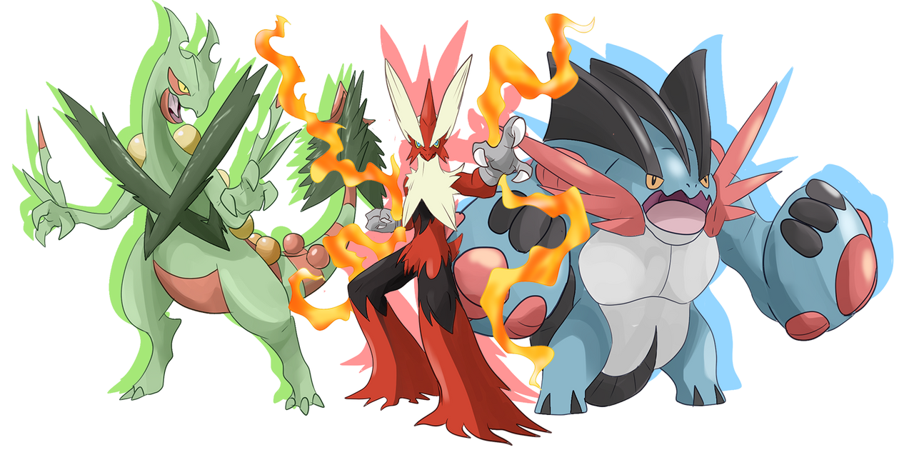 Mega Hoenn starters by shinyscyther on DeviantArt
