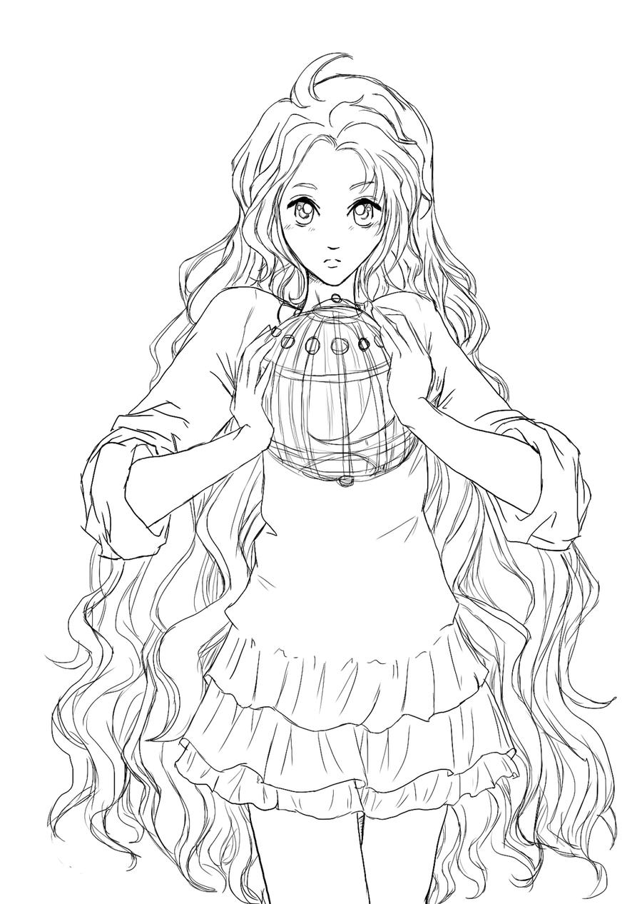 Anime Girl Elf Coloring Pages Sketch