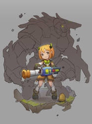 cannon girl with Guardian golem. (Rough color) by tom23579