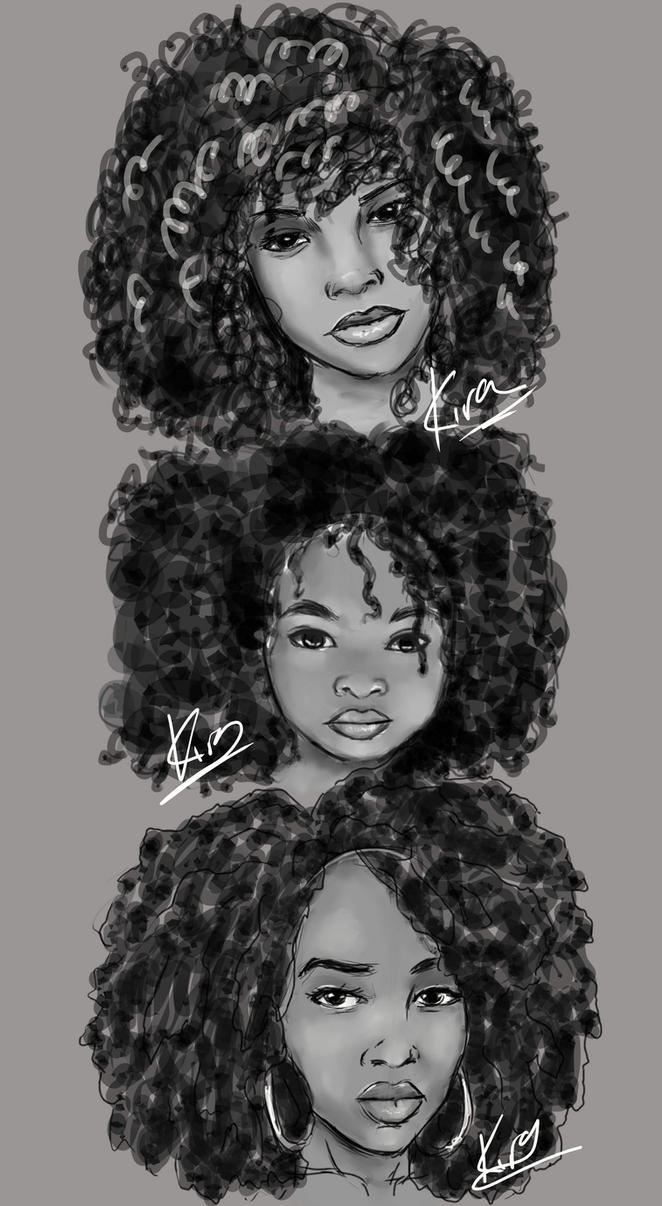 how to draw black hair with pencil