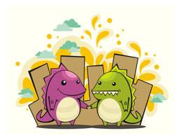 happy dino friends by tora28142