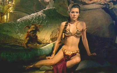 Slave Leia sits in front of her master
