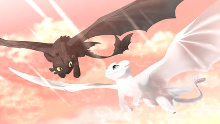 Toothless and Light Fury [FanArt] by CristalWolf567