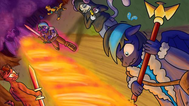 Commission - Classic 'Heroes vs Evil' Fight Scene