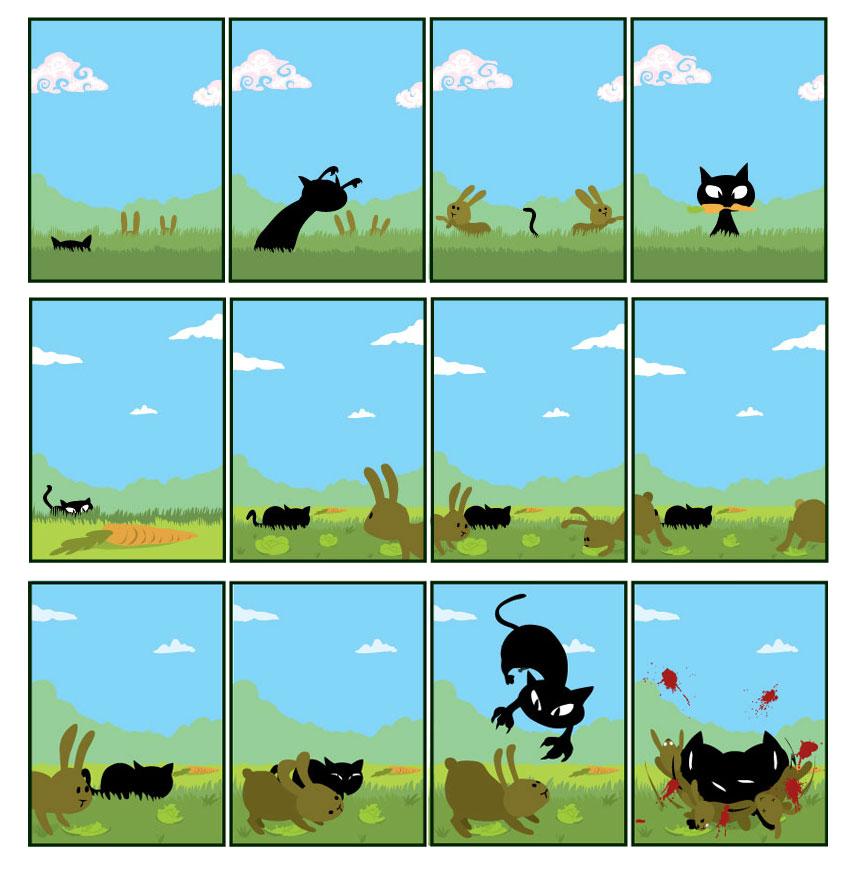 Kitty vs. Bunny by kittypuss
