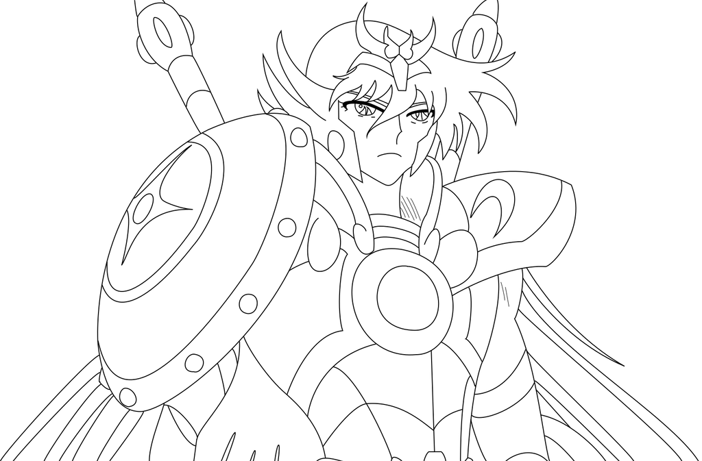 Libra no shiryu omega lineart by huramechi on deviantart - Coloriage saint seiya omega ...