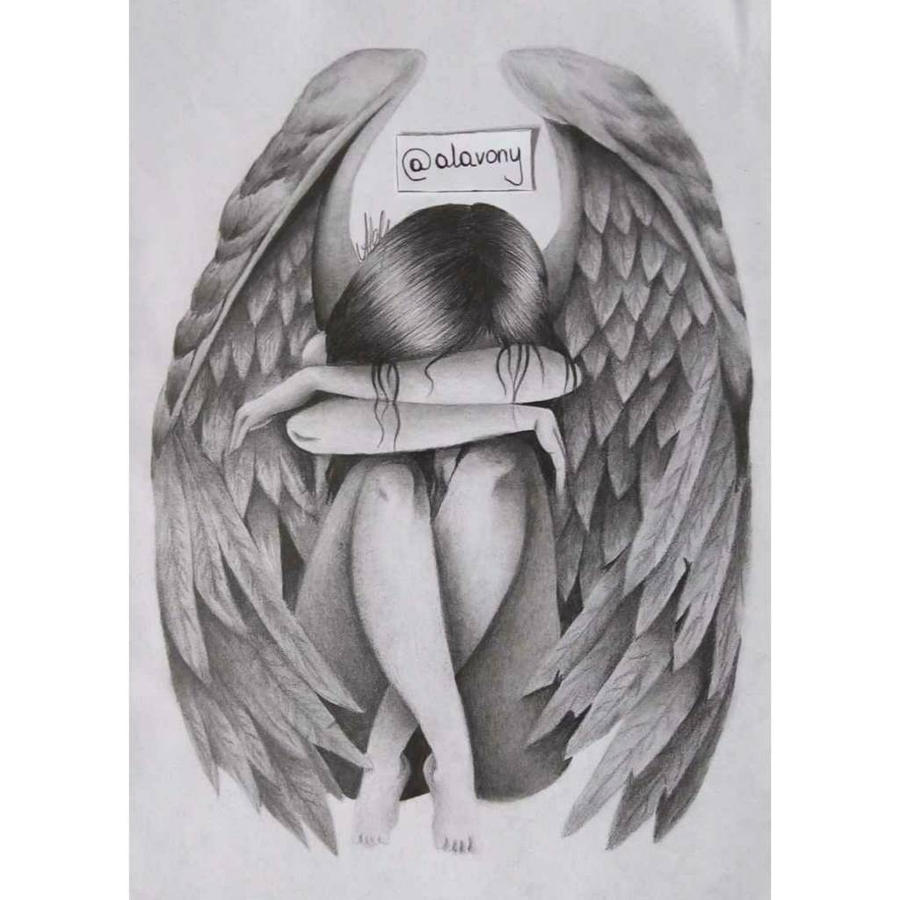 depressed angel drawings - photo #19