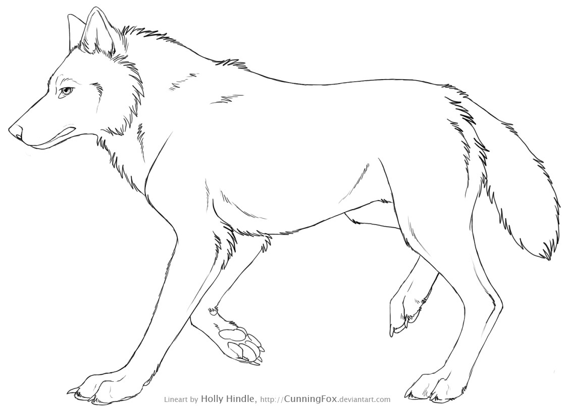 Free Wolf Lineart - Side view by Bear-hybrid