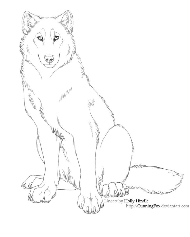 Free lineart - wolf sitting by Bear-hybrid