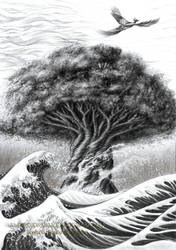 Tree of Life and Simorgh in Sea of the World
