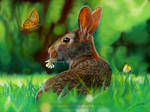 Rabbit and Butterflies Drawing by AmBr0