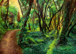 On The Right Track - Landscape Drawing