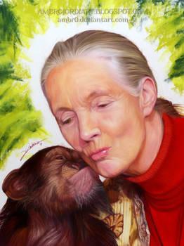 Jane Goodall and Chimpanzee Drawing