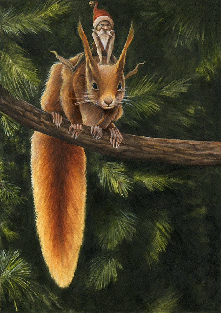 Santa's Elf and Red Squirrel by Markelli
