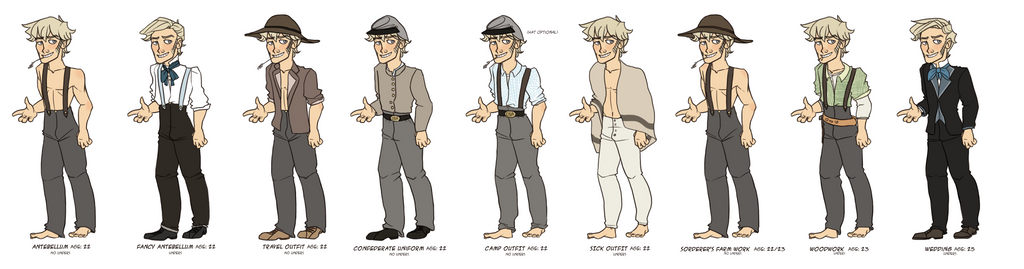 Jethro's Outfit Lineup by tweelin