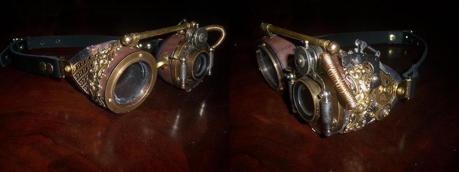 Steampunk Wood + Brass Goggles by lilibat