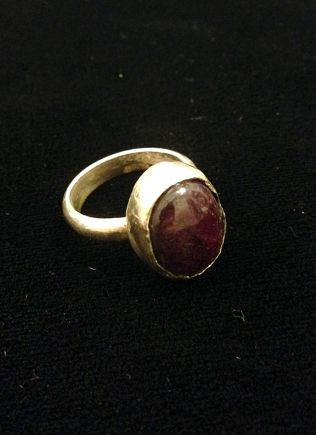 Ruby in Brass Medieval Ring by lilibat
