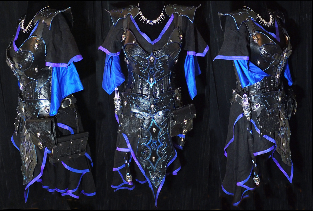 Tiefling Warlock Iridescent Leather Fantasy Armor by lilibat