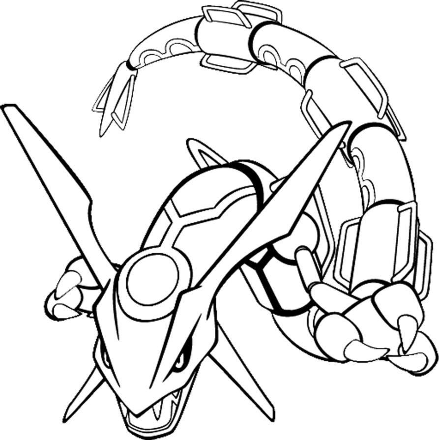 Line art drawing of rayquaza by kyouyoshino on deviantart - Coloriage pokemon rayquaza ...
