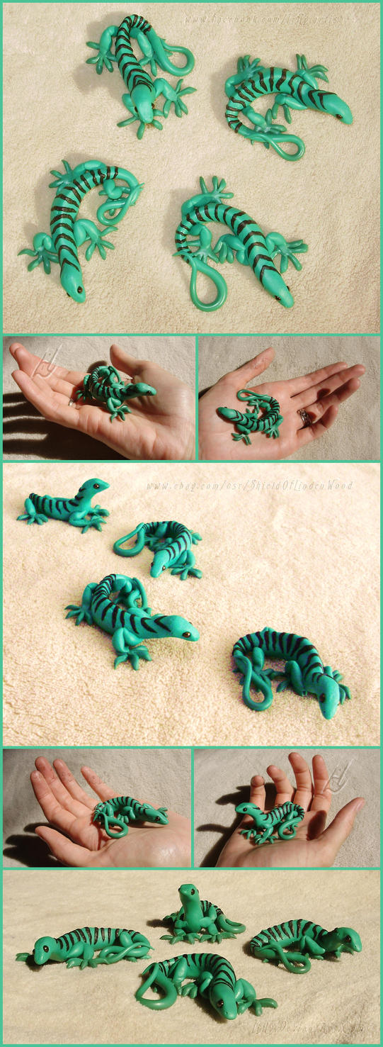 Emerald Tree Monitor Lizard Series of Sculptures by LiHy