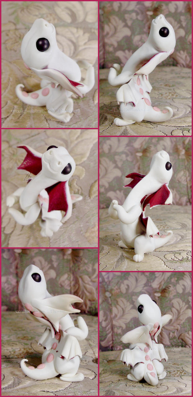 Custom White Begging Dragon Hatchling Sculpture by LiHy