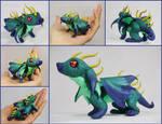 FOR SALE ~ Horned Teal Dragon Hatchling Sculpture