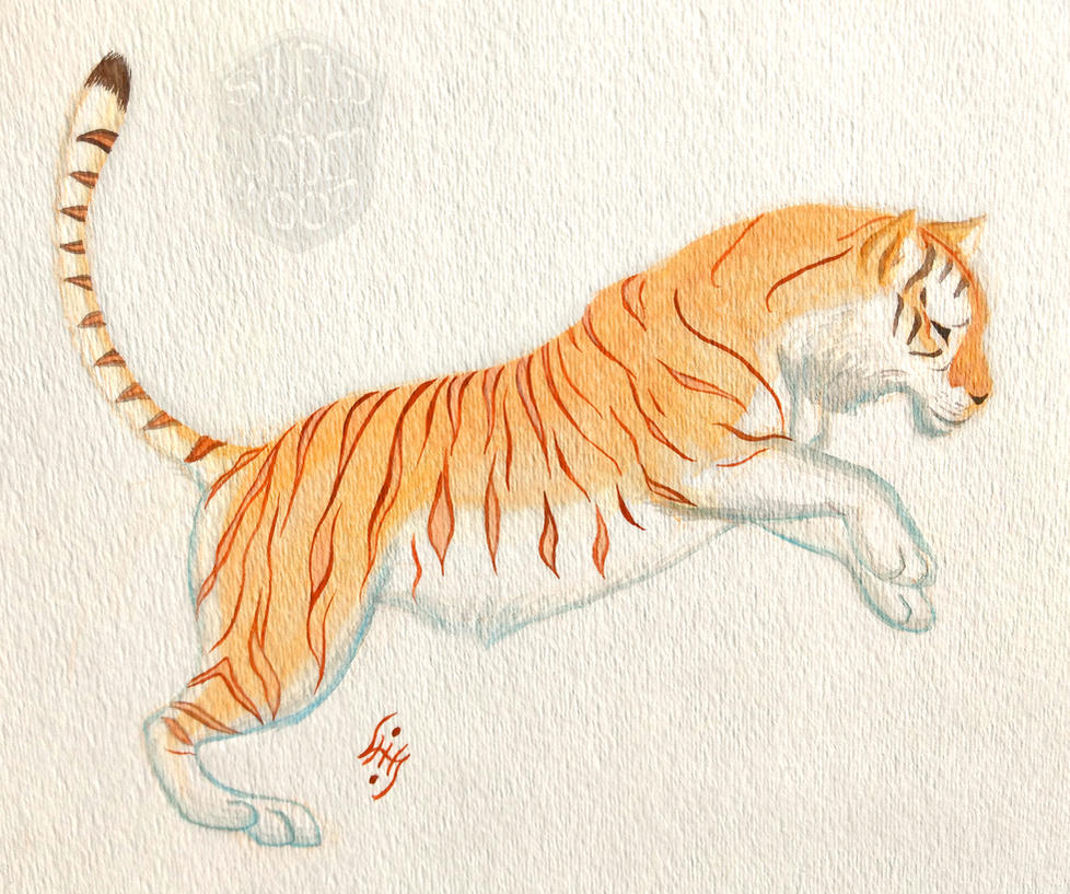 Golden Tiger in Watercolor by LiHy