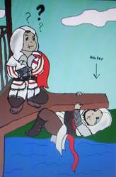 Ezio! Don't let me drown! by DamnedAssassin