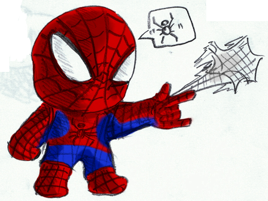 how to draw spiderman chibi