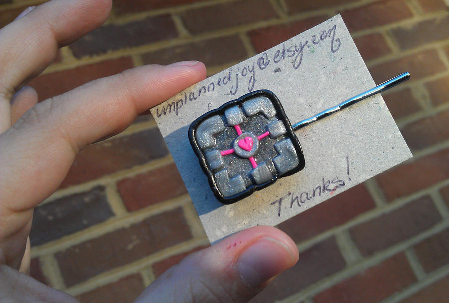 Companion Cube Bobby Pin -Updated Style by Gynecology