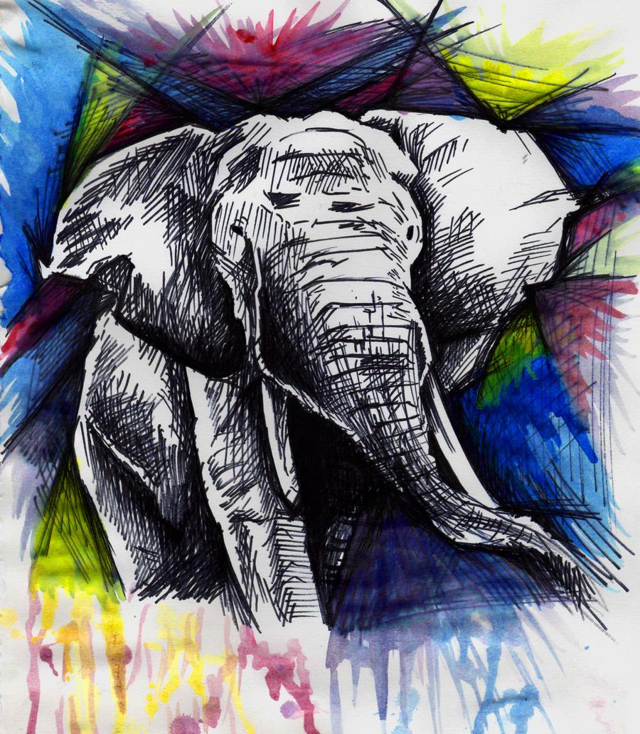 elephant explosion by idrawbad