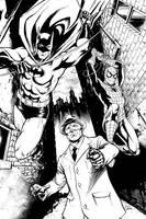 Batman, Spider-Man, and Green Hornet inks by craigcermak