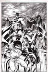 Batman, Nightwing, and Robin commission inks