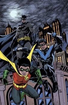 Batman, Robin, Nightwing colors