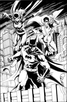 70's-era Batman, Batgirl, and Robin