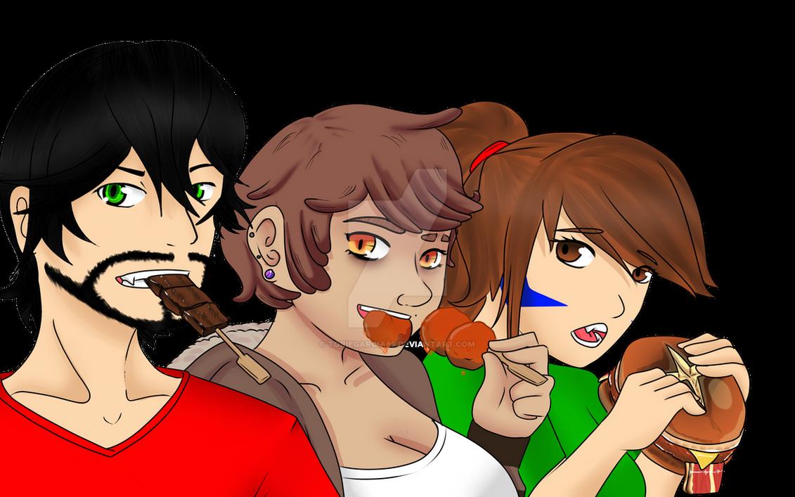 Eat Up Gang! (OC an FemRigby) by toriegarcia89