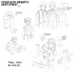 Pkmn Rebirth - Rough Sketches by Purplestuffles