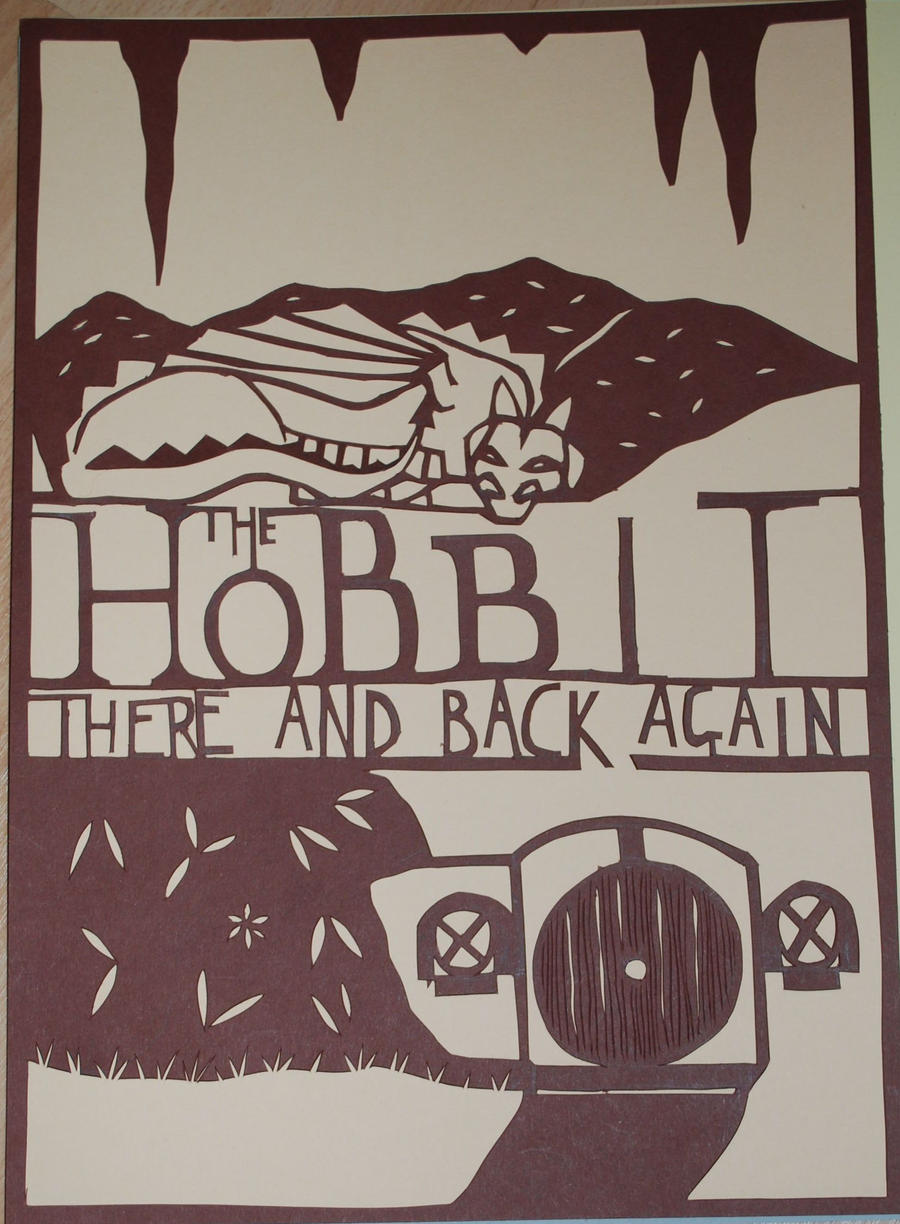 the hobbit paper cut by yellow bird flying on the hobbit paper cut by yellow bird flying