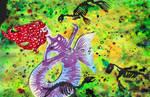 Toxic Mermaid papercutting illustration by mizueyes777