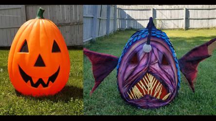 turning a pumpkin into and anglerfish