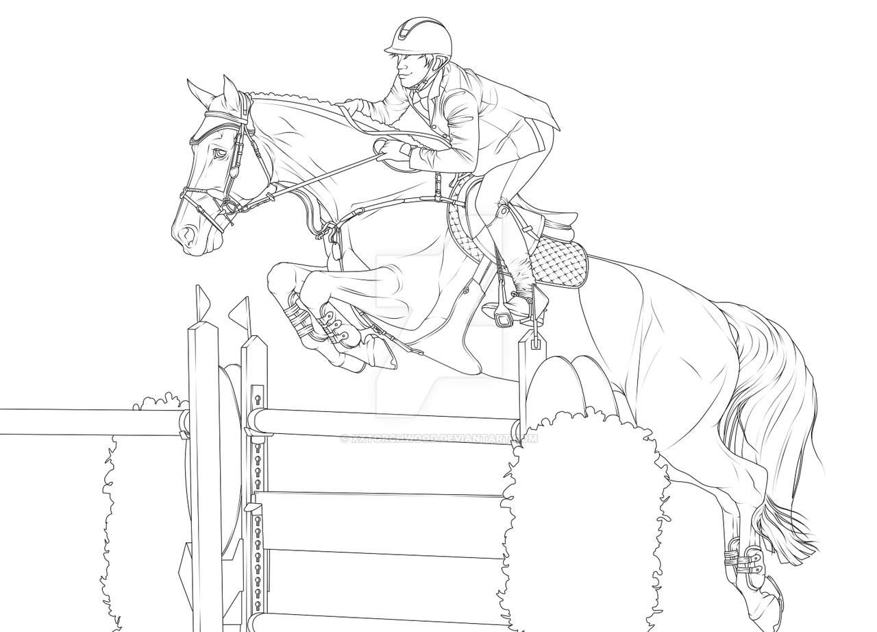 Line Drawing Jumper : Lineart harley quinn showjumping by xxtorchwood on deviantart