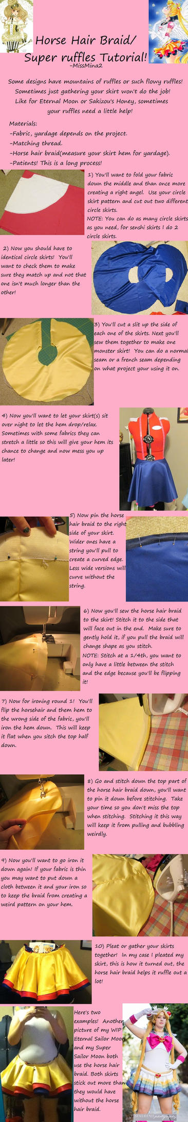 Tutoral: Horse Hair Braid hem Ruffles by MissMina2