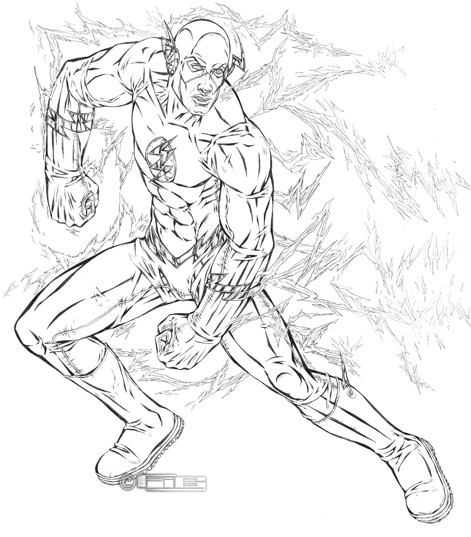 The Flash Line Art : The flash line art by fig